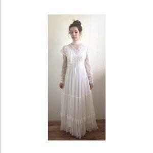 VINTAGE 70s sheer wedding dress maxi